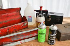 Make an instant junky toolbox charging station for your iPhone or iPod. Metal Tool Box, How To Remove Adhesive, Metallic Spray Paint, Sign Company, Metal Containers, Old Tools, Rusty Metal, Workshop Ideas, Fire Extinguisher