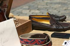 Made in the the USA in Maine at the Old Port Fest.  Moccasins and wallets