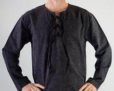 COMERCIANTE camisa cuello alto crema camisa por zootzugarb en Etsy