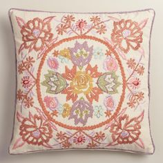Featuring our enchanting floral design in a dusty, muted palette with intricate embroidery, this exclusive throw pillow is a striking statement piece with an inviting texture.