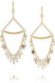 Chan Luu Gold-plated, bead and opal earrings | NET-A-PORTER
