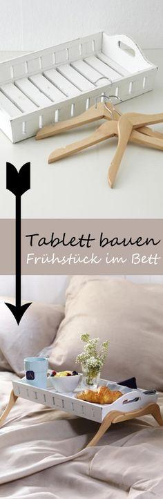 Mit diesem selbstgebauten Tablett steht dem sonntäglichen Frühstück im Bett nicht mehr im Weg! Sie brauchen nur ein Tablett und vier Kleiderbügel. ZUR ANLEITUNG >>>