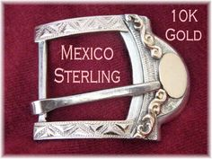 10K Rose Gold ~ Mexico Sterling Silver Vintage Western Belt Buckle - Mexican Horse Show Buckle - FREE SHIPPING