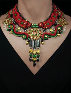 Necklace | Barbara Natoli Witt.  Antique  Kundan center and side pieces featuring rubies, green tourmalines and mine cut diamonds in 22k gold settings, enameled on the reverse - beads of dark tourmaline, tsavorite, ruby and pink tourmaline, crystal  & 22k gold.  This necklace is reversible with the 'back'  in Green and black tones.