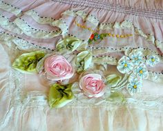 antique french pink ribbon work flowers applique rose rosette large.