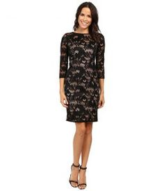 Adrianna Papell Lined Carol Lace Sheath Dress with Jeweled Neckline (Black/Pale Pink) Women's Dress