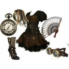 A fashion look from December 2011 featuring steampunk dress, leather ankle booties and chain jewelry. Browse and shop related looks. Steampunk Cosplay, Steampunk Dress, Steampunk Wedding, Victorian Steampunk, Steampunk Clothing, Steampunk Fashion, Steampunk Makeup, Steampunk Female, Steampunk Outfits