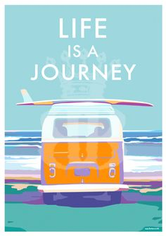 #vintage #seaside #travel #posters #vdub #adventure #surfing #campers available at www.beckybettesworth.co.uk