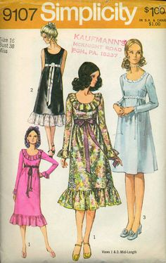 CLASSIC VINTAGE 70s Sewing Pattern SIMPLICITY Ruffle Evening Cocktail Dress 16