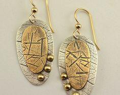 Dangle Earrings Mixed Metal Earrings by DeborahCloseDesigns Mixed Metal Jewelry, Metal Clay Jewelry, Copper Jewelry, Jewlery, Wire Jewelry Designs, Jewelry Patterns, Rustic Jewelry, Handmade Jewelry, Craft Jewelry