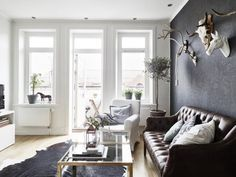 A neutral palette gives a calm feel to a studio apartment from Stadshem, via Planete Deco.