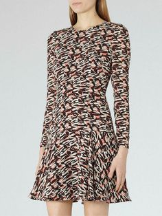 5bea0ec0199ff Reiss Printed Aria Mini Shift Sleeved Cocktail Tunic Fit Flare Party Dress  10 38  Reiss