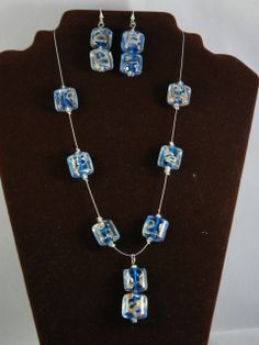 Blue Lamp work Glass Beaded Necklace & Earring set  Hand Made By Lisa Bamford