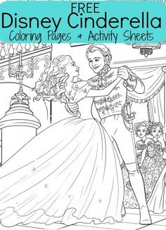 FREE Disney Cinderella Kid's Coloring pages plus activity sheets with a cute clock activity, connect the dots, and word search!
