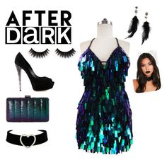 """AFTER DARK#"" by sri-chand ❤ liked on Polyvore featuring Casadei, Jessica McClintock and Betsey Johnson"