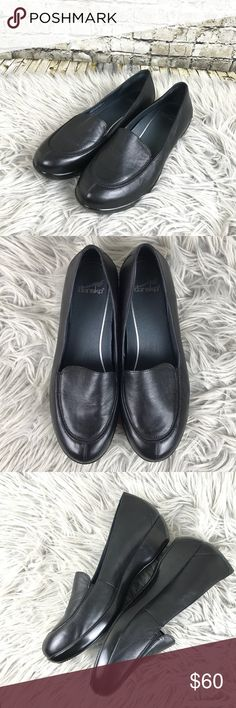 """Dansko Debra Nappa Black Leather Loafers EUC only flaw is a small scratch in the inner side of right shoe. Dansko Debra Loafers. 1.5"""" Heel. Size 40 Dansko Shoes Flats & Loafers"""