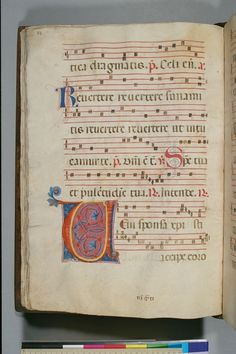 A beautiful example of a 14th century antiphonal from Tuscany.  Script: Formal gothic liturgical book hand. Artist: Niccolò di ser Sozzo Music: Square notation on 4-line red staves. Figurative Decoration: Four historiated initials. Other Decoration: Painted and flourished initials.  Contains the common of saints, and the feasts of Corpus Christi, the translation of Francis (25 May), and Anthony of Padua (13 June).  Source: New York, Columbia University, Barnard College Library,  MS 1
