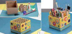 Reciclar cartón haciendo un organizador de útiles   Construccion y Manualidades : Hazlo tu mismo