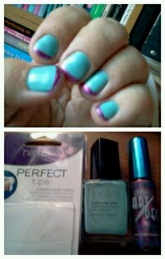 My nails: Avon 'aqua fantasy' nail enamel, LA Colors 'metallic pink' art deco nail art lacquer and Nailene perfect tips french polish guides