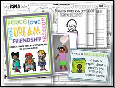 """Use this packet to celebrate the life of Martin Luther King Jr.! Students write a MLK biography and create an """"I Dream"""" craft."""