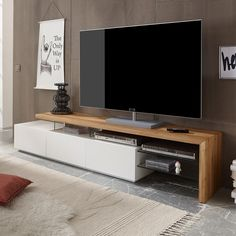 TV-Rack Alimos TV-Board Lowboard Unterschrank weiß matt Lack Eiche massiv   Möbel & Wohnen, Möbel, TV- & HiFi-Tische   eBay!