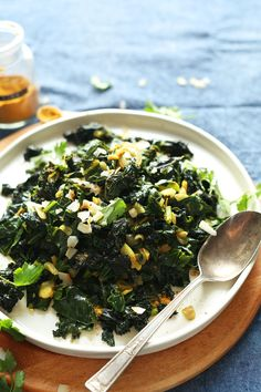 Coconut Curried Greens-collard, kale with curry powder and coconut milk.   So healthy-tasty-vegan-glutenfree recipe