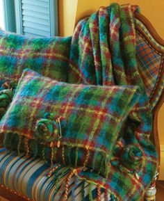 Cozy mohair tartan pillows from MacKenzie-Childs. The Highland Rose Square…