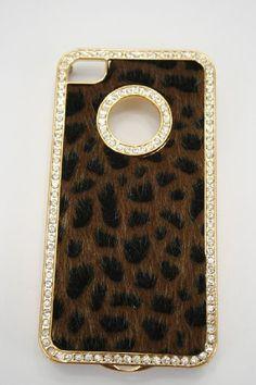 Bling Fur, Cheetah Print, Gold and Rhinestone Iphone 4 / Case Brown , iPhone cases Iphone 4s, Iphone Cases, 4s Cases, Gold Rhinestone, Phone Covers, Cheetah Print, Cell Phone Accessories, Bling, Fur