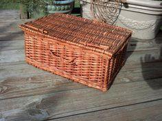 Vintage Wicker Basket or Picnic Hamper  Large by BrushCreekCottage