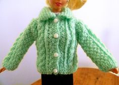 Knitted cardigan for Barbie