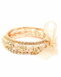 Amazon.com: Designer Inspired Rose Gold Rhinestone Bracelet, 0.75 Inch,: Jewelry