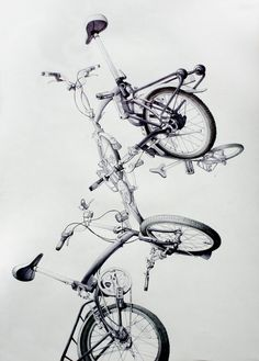 """A drawing by spanish artist Guillermo Berdugo: """"Torre de bicicletas"""". Ball pen on paper. 50 x 70 cm Bicycle Art, Bicycle Design, Shadow Drawing, Architecture Sketchbook, Spanish Artists, Brompton, Cycling Art, Art For Art Sake, Photo Illustration"""