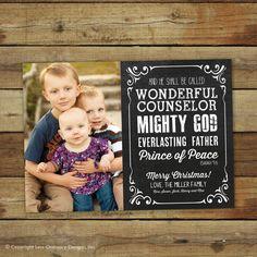 Chalkboard Christmas card photo card with Isaiah 9:6 by saralukecreative, $15.00