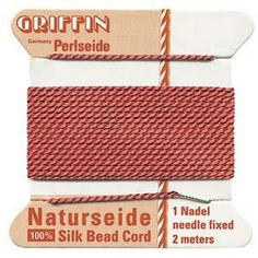 Supplies-Natural Silk Cord-Size 02 Griffin Thread-Attached Twisted Needle-Coral-2 Meter-Quantity 1 Card