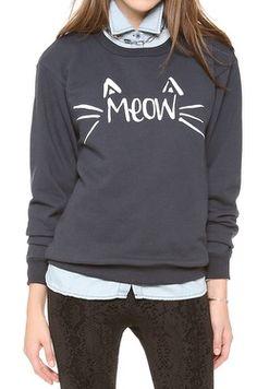 "Adorable ""meow"" sweatshirt http://rstyle.me/n/ed52jnyg6"