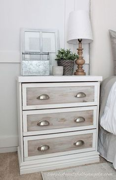 bedroom furniture Simply Beautiful By Angela: Farmhouse Master Bedroom Makeover Farmhouse Bedroom Furniture, Farmhouse Master Bedroom, Refurbished Furniture, Upcycled Furniture, Furniture Making, Painted Furniture, Diy Furniture, Furniture Design, Bedroom Decor