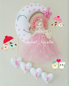 Hobbies And Crafts, Diy And Crafts, Baby Door, Felt Banner, Felt Wreath, Baby Mobile, Embroidery Bags, Felt Decorations, Felt Toys