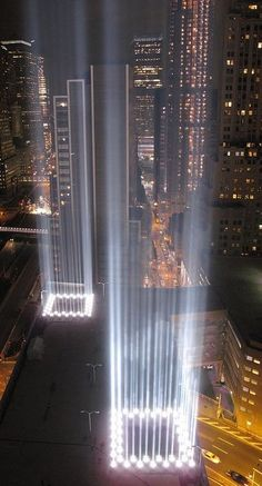 "NYC Twin ""Towers of Light"" memorial installation. As of Monday, April the newly constructed Liberty Tower, WTC will, once again, claim the title of highest building in New York City. Deco New York, New York City, 11 September 2001, Tribute In Light, 911 Tribute, A New York Minute, I Love Nyc, City That Never Sleeps, New York"
