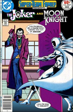 Super-Team Family: The Lost Issues!: The Joker and Moon Knight Old Comic Books, Comic Book Covers, Comic Book Heroes, Marvel Dc, Marvel And Dc Crossover, Dc Comics, Teen Titans Starfire, Joker Art, Moon Knight