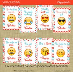 Instant Download Emoji Valentine's Day Cards by sfmprintables