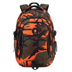 TANGIMP Kids Backpack School Bags Unisex Travel Mochila escolar Cool Backpacks Bags for Boys Girls Teenager 3 Size Camouflage New School Bags, School Bags For Boys, Nylons, Camouflage Backpack, Boys Backpacks, Orange Backpacks, School Backpacks, Men's Backpack, Designer Backpacks