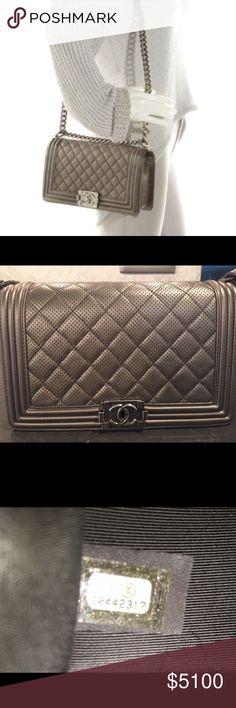 """Like NEW CHANEL Metallic Perforated Medium Boy Bag NO TRADES - pls don't even ask...Exterior: Metallic Grey; Pearlized Calfskin Leather    Interior:  Grey Textile Lining, One Pocket    Closure: Push Lock    Hardware: Distressed Silver Tone    Handle/Strap: Distressed Silver Chain and Leather    Additional Items: This item ships with the dustbag.    SIZE / FIT -  Measurements: 10""""L x 3.5"""" W x 6"""" H --20"""" full drop    Retails: $6200 Chanel Bags Shoulder Bags"""
