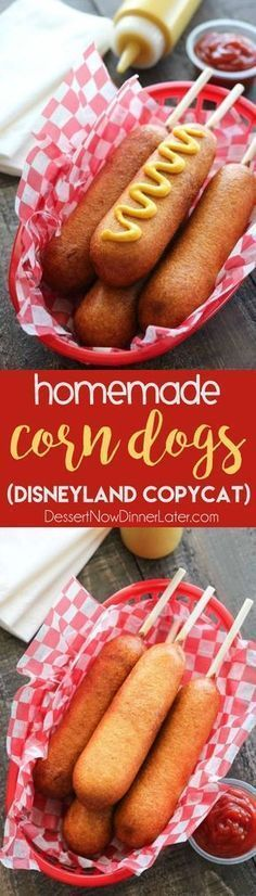 These homemade corn dogs are lightly sweet, crisp, and hand-dipped just like the ones at Corn Dog Castle in California Adventure, Disneyland. They freeze well too!