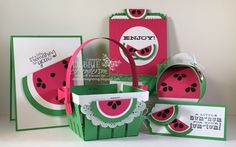 Stampin' Up! Watermelon themed Punch Art & Framelits for a team hop. Card, Berry Basket, Curvy Keepsake Box Die, Scalloped Tag Topper Punch and Mini Treat Bag Thinlits Pull-tab Card. Debbie Henderson, Debbie's Designs.