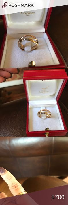 Cartier trinity band Cartier trinity band . Size 50 . Know your size ! Authentic with box tricolor classic ring ! Preworn needs polishing. On Cartier site it is a 5 1/4 us size Cartier Jewelry Rings