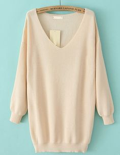 Apricot V Neck Long Sleeve Loose Knit Sweater - Sheinside.com