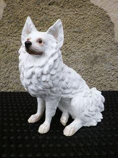 Antique German Spitz Dog Porcelain Figurine w/ Glass Eyes 19th C !