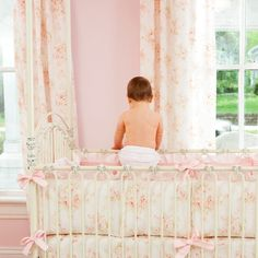 Shabby chic nursery, cute bedding and curtains
