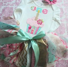 Baby girl Cupcake 1st birthday outfit shabby chic by RockabyeJoss