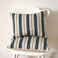 """Vintage blue stripe ticking fabric on front, natural Libeco linen on back, makes this pillow a beautiful modern classic. 14 x 18"""" pillow with zip"""